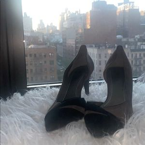 BCBGeneration Gray and Black Suede Heels